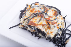 Espaguetes com queijo cozido Fotos de Stock