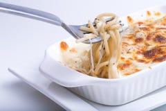 Espaguetes com queijo cozido Foto de Stock Royalty Free