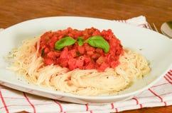 Espaguetes com vegetariano bolonhês Foto de Stock Royalty Free