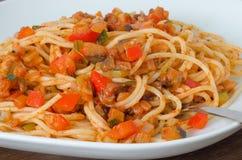 Espaguetes com vegetariano bolonhês Fotografia de Stock