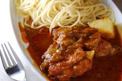 Espaguetes da carne de porco do caril fotografia de stock royalty free