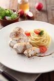 Espaguetes da galinha Fotografia de Stock