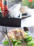 Espaguetes de Carbonara Imagem de Stock