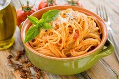 Espaguetes do tomate Fotos de Stock Royalty Free