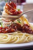 Espaguetes em uma forquilha Imagens de Stock