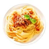 Espaguetes italianos saborosos com carne picada imagem de stock royalty free