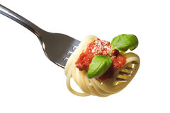 Espaguetes na forquilha Foto de Stock Royalty Free