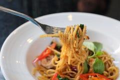 espaguetes nos espaguetes da forquilha Fotos de Stock