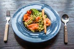 Espaguetes Salmon Imagens de Stock Royalty Free