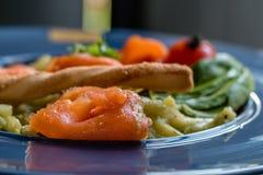 Espaguetes Salmon Fotografia de Stock