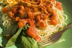Espagueti boloñés Fotografía de archivo