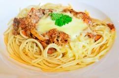 Espagueti boloñés Fotos de archivo libres de regalías