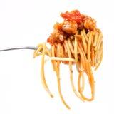 Espagueti boloñés en fork Fotos de archivo libres de regalías
