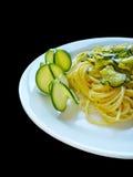 Espagueti con el calabacín Imagen de archivo libre de regalías