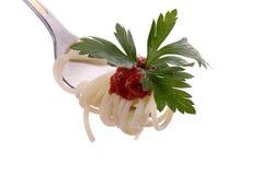 Espagueti con grawy en el primer de la fork fotos de archivo libres de regalías