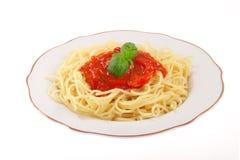 Espagueti con la salsa Foto de archivo libre de regalías