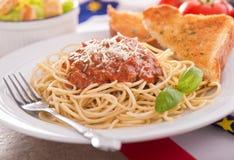 Espagueti con la salsa de la carne Imagen de archivo libre de regalías