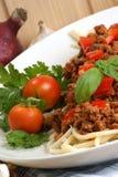 espagueti con la salsa de la carne picadita Imagen de archivo libre de regalías