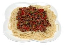 Espagueti con la salsa de la carne picadita Imagen de archivo