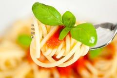 Espagueti con la salsa de tomate fotos de archivo libres de regalías