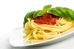 Espagueti con la salsa de tomate y la albahaca - ascendente cercano Fotografía de archivo