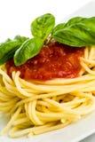 Espagueti con la salsa de tomate y la albahaca - detalle Imágenes de archivo libres de regalías