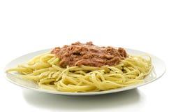 Espagueti con la salsa del atún y de tomate Foto de archivo libre de regalías