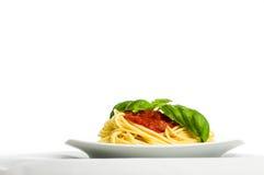 Espagueti con la salsa y la albahaca de tomate - horizontales fotografía de archivo