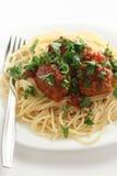 Espagueti con las albóndigas en salsa de tomate Fotos de archivo libres de regalías