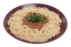 Espagueti con ragu de la carne de vaca y del tomate. Imágenes de archivo libres de regalías
