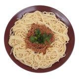 Espagueti con ragu de la carne de vaca y del tomate. Imagen de archivo