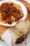 Espagueti con Soffritto y pan Fotografía de archivo libre de regalías