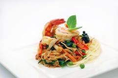 Espagueti de los mariscos Imagen de archivo