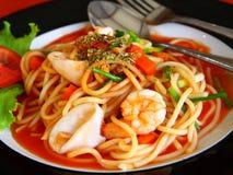 Espagueti de los mariscos imagenes de archivo
