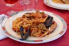 Espagueti de los mariscos Fotos de archivo