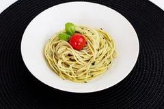 Espagueti de Pesto Foto de archivo