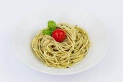 Espagueti de Pesto Imagen de archivo libre de regalías