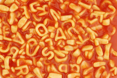 Espagueti del alfabeto imagen de archivo