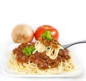 Espagueti e ingredientes Imagen de archivo