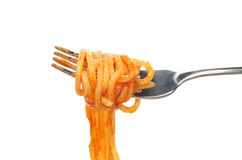 Espagueti en fork Foto de archivo libre de regalías