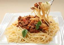 Espagueti en una fork Fotografía de archivo