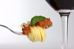 Espagueti en una fork Imagenes de archivo