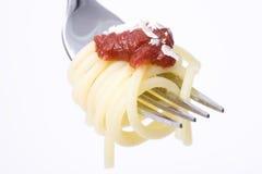 Espagueti en una fork Imagen de archivo