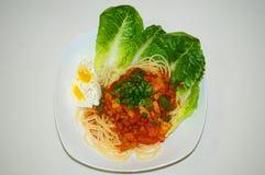 Espagueti hecho en casa Imagenes de archivo