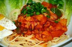 Espagueti hecho en casa Imagen de archivo libre de regalías
