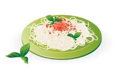 Espagueti italiano en la placa - vector Fotografía de archivo libre de regalías