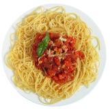 Espagueti Pomodoro de arriba Imágenes de archivo libres de regalías