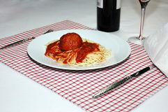 Espagueti y albóndiga 2 Imagen de archivo libre de regalías