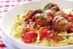 Espagueti y albóndigas Imagen de archivo