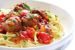 Espagueti y albóndigas Fotografía de archivo libre de regalías